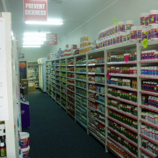 Supermarket shelving for vitamin shop